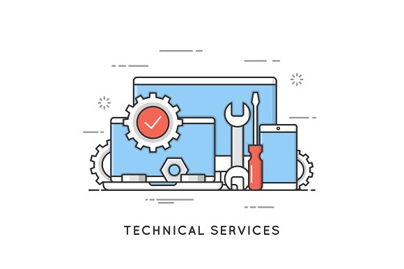 Technical Services Computer Repair Support Flat Line Art Styl
