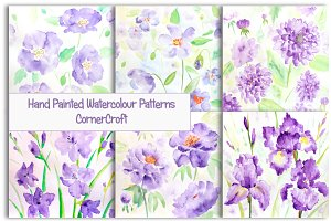 Watercolor Patterns blue flowers