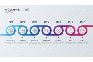 Vector timeline chart infographic design for data visualization.