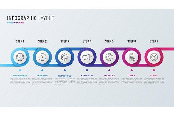 Vector Timeline Chart Infographic Design For Data Visualization