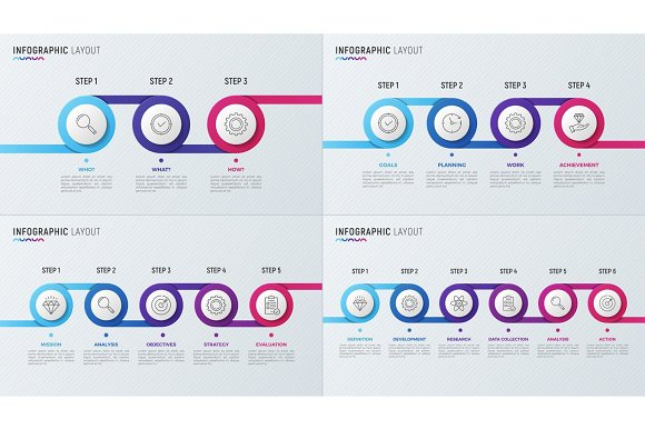 Vector Timeline Chart Infographic Designs For Data Visualization