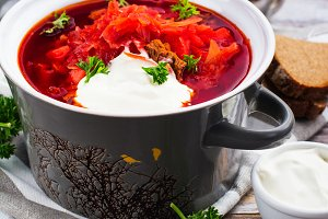 Traditional Ukrainian beetroot soup borscht