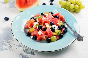 Fresh watermelon salad with feta