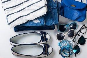 Collage feminine clothing flat lay