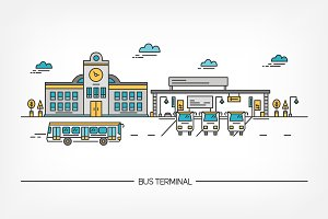 Line art bus terminal (station)