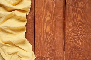 Wooden background with napkin