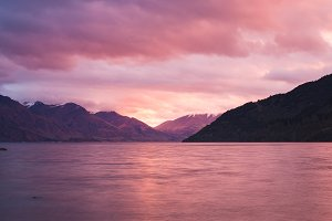 Beautiful pink sunset and mountains
