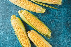 Fresh raw corn cobs