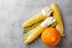 Vegetables corn and pumpkin