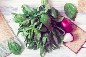 Basil and onion