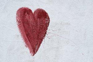 Heart on grey wall