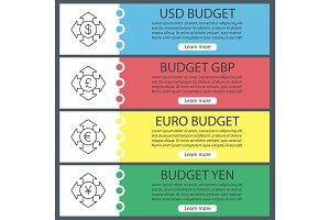 Money spending web banner templates set