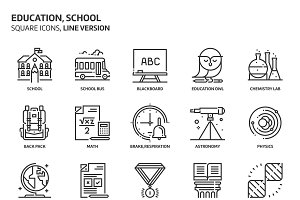 Education, square icons