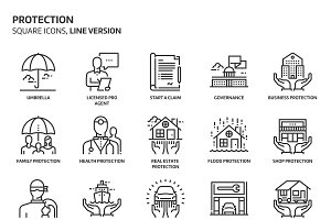 Insurance, square icons