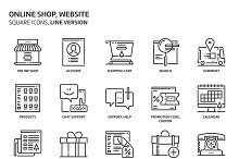 Shopping, square icons