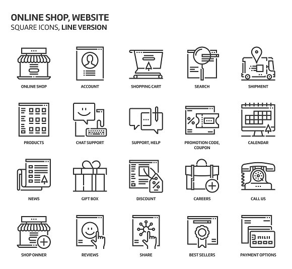 Shopping Square Icons