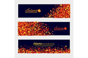 Vector horizontal autumn banners set