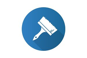 Big paint brush flat design long shadow glyph icon