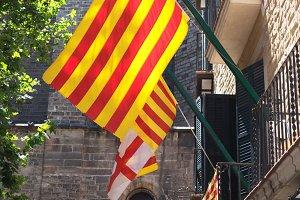 Barcelona, Spain - June 20, 2017: Flag of Catalonia