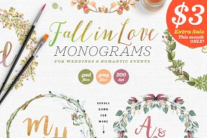 6 Fall in Love Wedding Monograms V