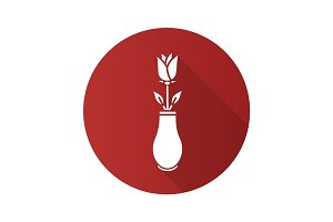Rose in vase flat design long shadow glyph icon