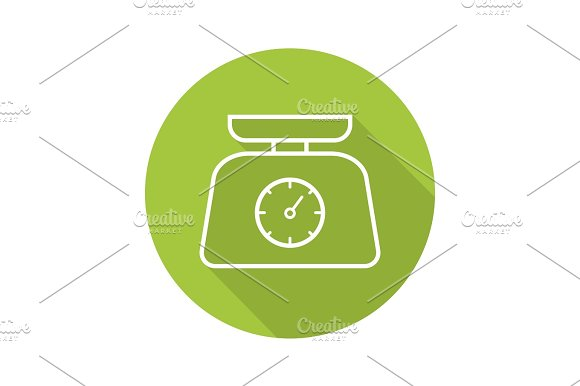 Kitchen Food Scales Flat Linear Long Shadow Icon
