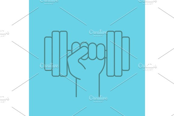 Hand Holding Gym Barbell Linear Icon