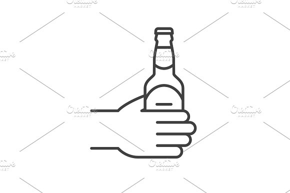 Hand With Beer Bottle Linear Icon