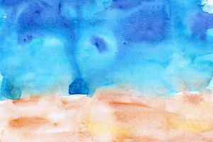 Beach watercolor super high res