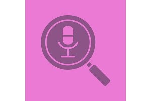 Magnifying glass with microphone glyph color icon