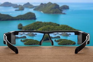 Landscape focused in glasses lenses