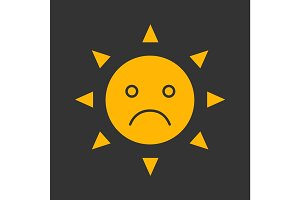 Sad sun smile glyph color icon