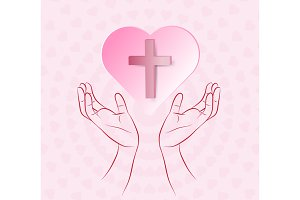 True cross in pink heart