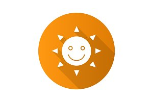Happy and funny sun smile. Flat design long shadow glyph icon