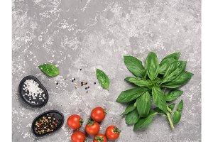 food background with basil, tomatoes, spices