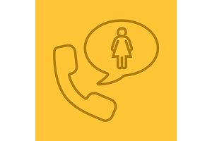 Phone talk about woman linear icon