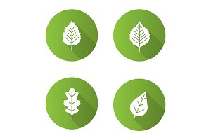 Leaves flat design long shadow glyph icons set