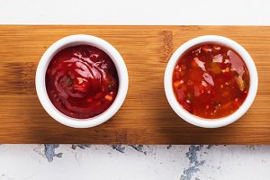 Bowls of various tomato sauces