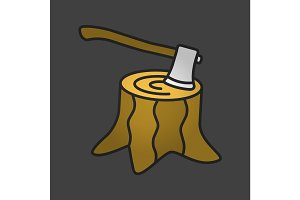 Deforestation color icon
