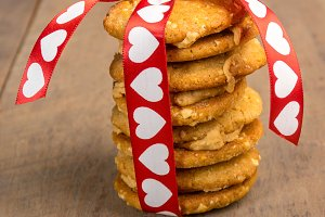 Stack of Valentine's Day cookies