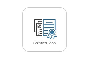 Certified Shop Icon. Flat Design.