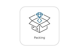 Packing Icon. Flat Design.