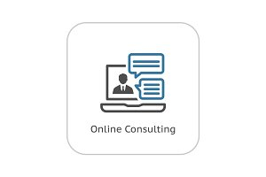 Online Consulting Icon. Flat Design.