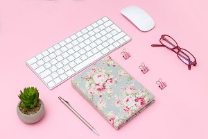Female desktop with accessories