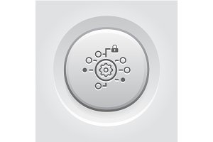 Security Settings Icon. Grey Button Design.