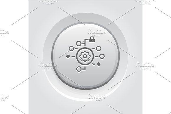 Security Settings Icon Grey Button Design