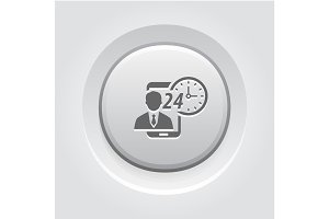 Personal Assistance Icon. Grey Button Design.