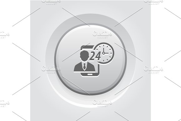 Personal Assistance Icon Grey Button Design