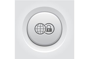 Global Security Icon. Grey Button Design.