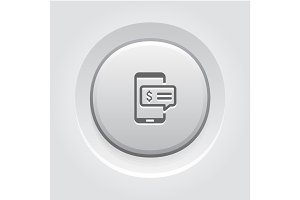 SMS Notification Icon. Grey Button Design.